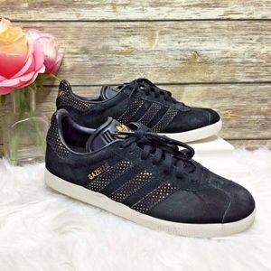 Adidas Gazelle Black Suede Gold Trim Sneakers